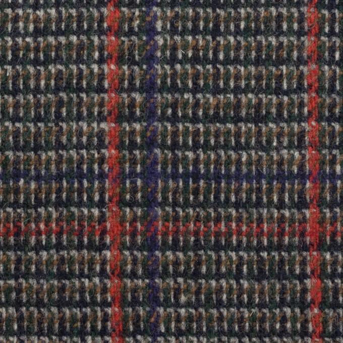 ウール&ポリウレタン×チェック(マリンブルー&レッド)×ツイード・ストレッチ_全2色 イメージ1