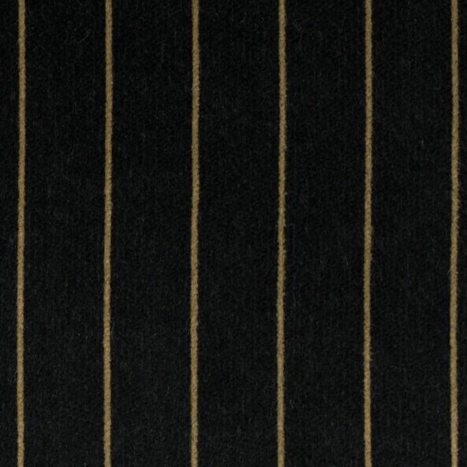 コットン&ポリウレタン×ストライプ(ブラック&ベージュ)×ベッチンストレッチ イメージ1