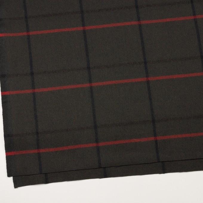 ウール×チェック(ダークカーキグリーン)×カルゼ イメージ2