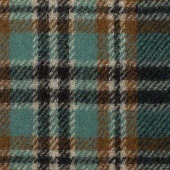 ウール&ナイロン×チェック(モカ、エメラルド&ブラック)×カルゼ サムネイル1
