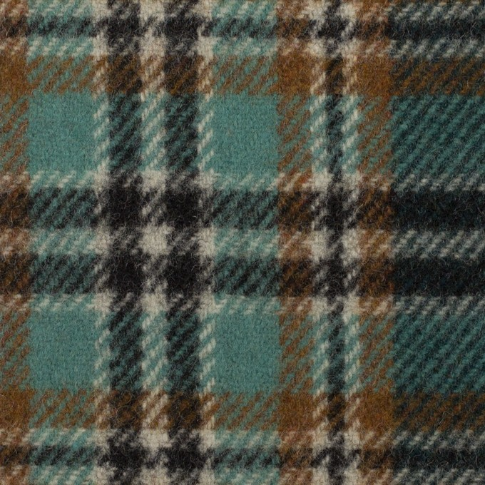 ウール&ナイロン×チェック(モカ、エメラルド&ブラック)×カルゼ イメージ1