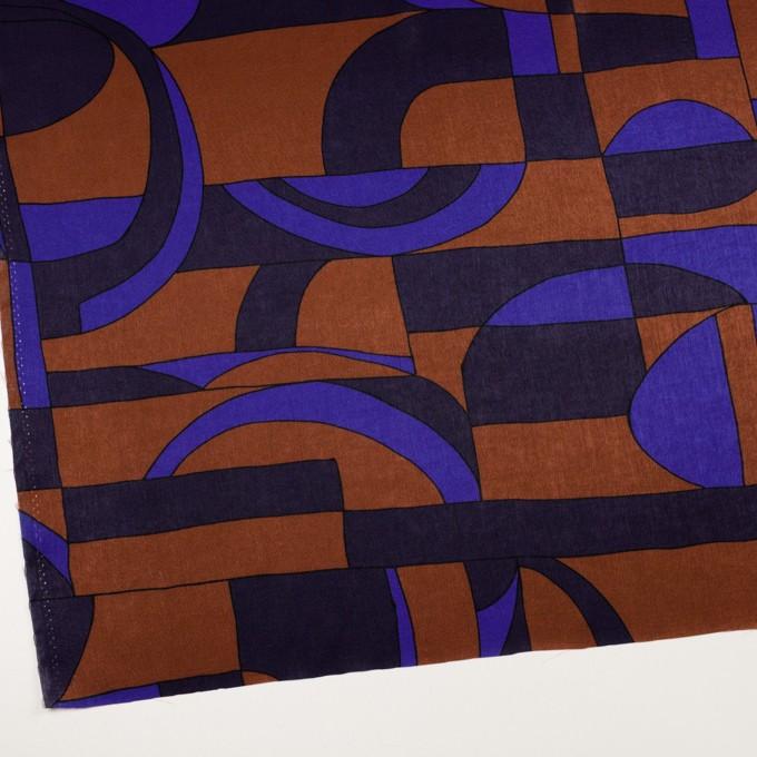 ポリエステル×幾何学模様(アーモンド&プルシアンブルー)×サテン_イタリア製 イメージ2