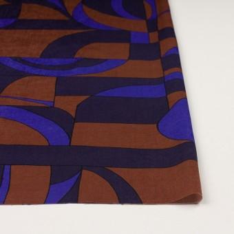 ポリエステル×幾何学模様(アーモンド&プルシアンブルー)×サテン_イタリア製 サムネイル3
