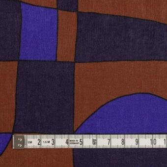 ポリエステル×幾何学模様(アーモンド&プルシアンブルー)×サテン_イタリア製 サムネイル4