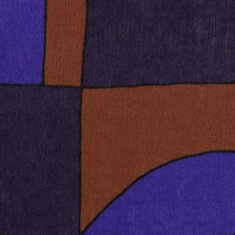 ポリエステル×幾何学模様(アーモンド&プルシアンブルー)×サテン_イタリア製 サムネイル1