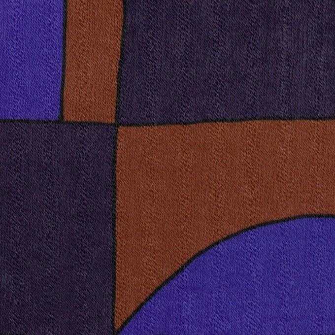 ポリエステル×幾何学模様(アーモンド&プルシアンブルー)×サテン_イタリア製 イメージ1