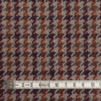ウール&アクリル混×チェック(グレー、バーガンディー&レンガ)×ツイード サムネイル4