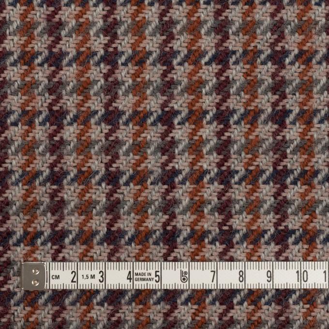 ウール&アクリル混×チェック(グレー、バーガンディー&レンガ)×ツイード イメージ4