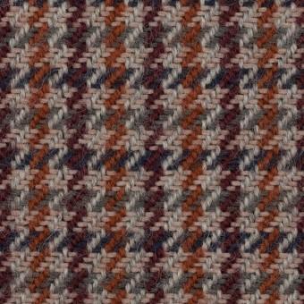 ウール&アクリル混×チェック(グレー、バーガンディー&レンガ)×ツイード サムネイル1