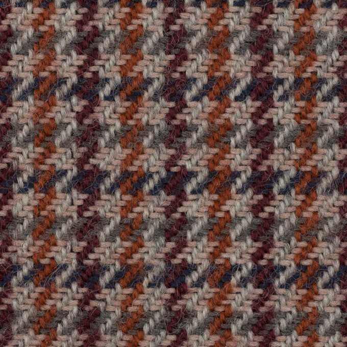 ウール&アクリル混×チェック(グレー、バーガンディー&レンガ)×ツイード イメージ1