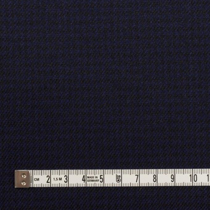 ウール×チェック(プルシアンブルー&ブラック)×サージ イメージ4