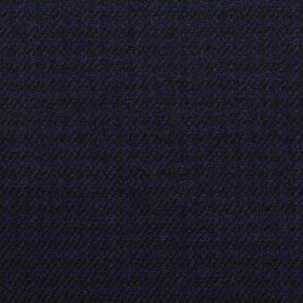 ウール×チェック(プルシアンブルー&ブラック)×サージ