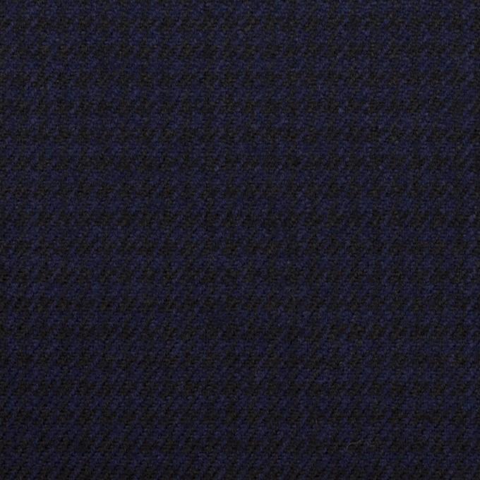 ウール×チェック(プルシアンブルー&ブラック)×サージ イメージ1