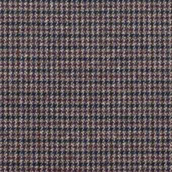 コットン&ポリウレタン×千鳥格子(バーガンディー&ネイビー)×フランネル_全3色_イタリア製 サムネイル1