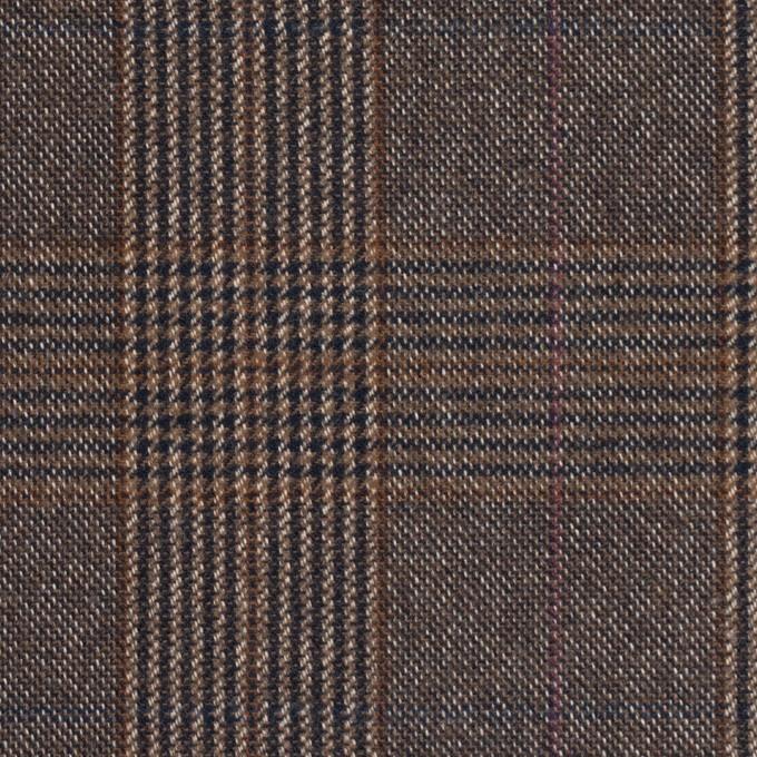 コットン&ポリウレタン×チェック(モカブラウン)×フランネル_全2色_イタリア製 イメージ1