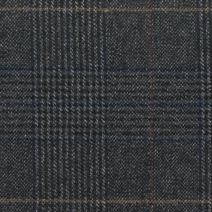 コットン&ポリウレタン×チェック(チャコールグレー)×フランネル_全2色_イタリア製 イメージ1