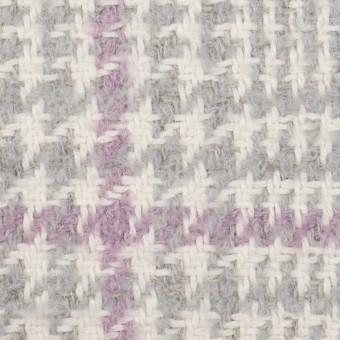 ウール&ポリエステル×チェック(グレー&モーブ)×ファンシーツイード サムネイル1
