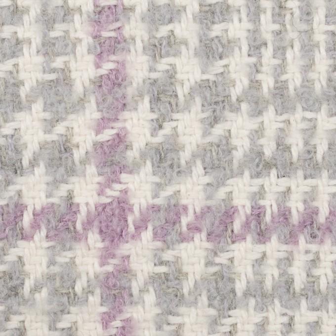 ウール&ポリエステル×チェック(グレー&モーブ)×ファンシーツイード イメージ1