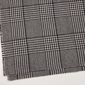 ウール&ポリエステル×チェック(アイボリー&ブラック)×ファンシーツイード サムネイル2