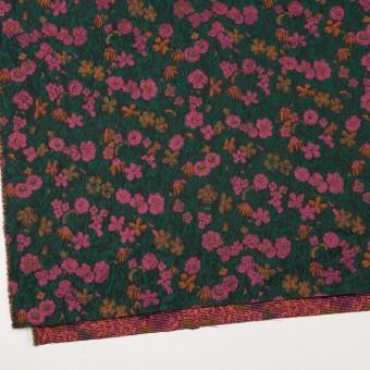 ポリエステル&アクリル混×フラワー(モスグリーン、ピンク&オレンジ)×フクレジャガード_フランス製 サムネイル2