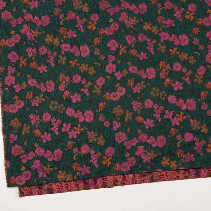 ポリエステル&アクリル混×フラワー(モスグリーン、ピンク&オレンジ)×フクレジャガード_フランス製 イメージ2