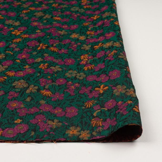 ポリエステル&アクリル混×フラワー(モスグリーン、ピンク&オレンジ)×フクレジャガード_フランス製 イメージ3