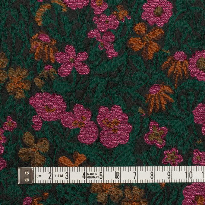 ポリエステル&アクリル混×フラワー(モスグリーン、ピンク&オレンジ)×フクレジャガード_フランス製 イメージ4