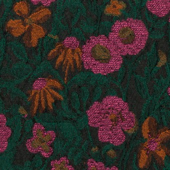 ポリエステル&アクリル混×フラワー(モスグリーン、ピンク&オレンジ)×フクレジャガード_フランス製 サムネイル1