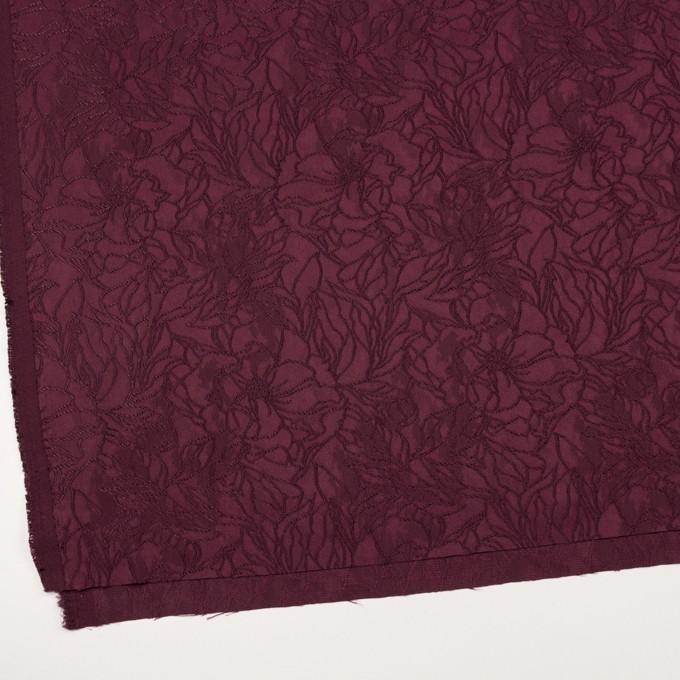 レーヨン&ポリエステル×フラワー(バーガンディー)×サテンジャガード_全3色 イメージ2