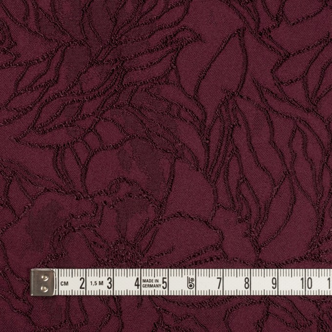 レーヨン&ポリエステル×フラワー(バーガンディー)×サテンジャガード_全3色 イメージ4