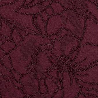 レーヨン&ポリエステル×フラワー(バーガンディー)×サテンジャガード_全3色 サムネイル1