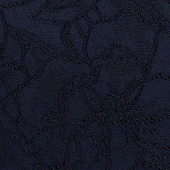レーヨン&ポリエステル×フラワー(ネイビー)×サテンジャガード_全3色 サムネイル1