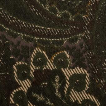 コットン&ポリウレタン×ペイズリー(グリーン)×ベッチンストレッチ_全2色 サムネイル1