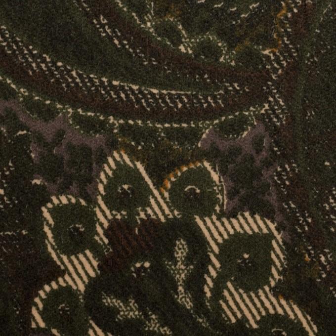 コットン&ポリウレタン×ペイズリー(グリーン)×ベッチンストレッチ_全2色 イメージ1