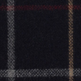 ウール&アクリル混×チェック(ダークネイビー、ベージュ&レッド)×ツイード サムネイル1