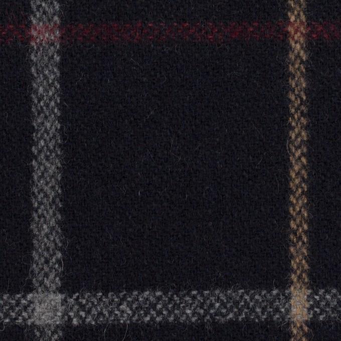ウール&アクリル混×チェック(ダークネイビー、ベージュ&レッド)×ツイード イメージ1
