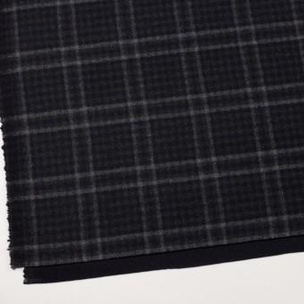ウール&ナイロン×チェック&無地(チャコールグレー&ブラック)×Wフェイスフラノ サムネイル2