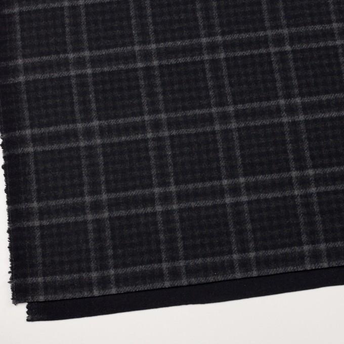 ウール&ナイロン×チェック&無地(チャコールグレー&ブラック)×Wフェイスフラノ イメージ2