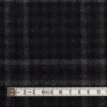 ウール&ナイロン×チェック&無地(チャコールグレー&ブラック)×Wフェイスフラノ サムネイル4