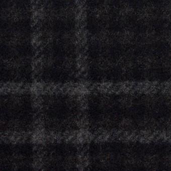 ウール&ナイロン×チェック&無地(チャコールグレー&ブラック)×Wフェイスフラノ サムネイル1