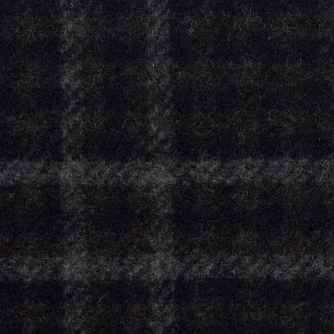 ウール&ナイロン×チェック&無地(チャコールグレー&ブラック)×Wフェイスフラノ イメージ1