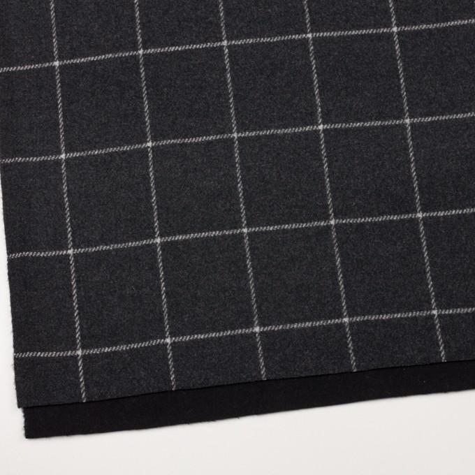 ウール×チェック&無地(チャコールグレー&ブラック)×Wフェイスフラノ イメージ2