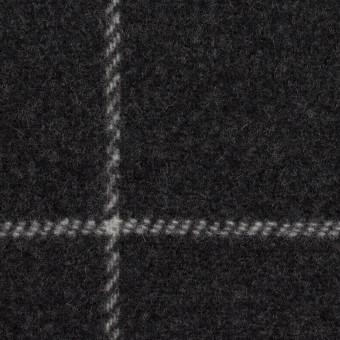 ウール×チェック&無地(チャコールグレー&ブラック)×Wフェイスフラノ サムネイル1