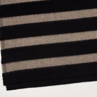 ウール×ボーダー(カーキベージュ&ブラック)×シャギー サムネイル2