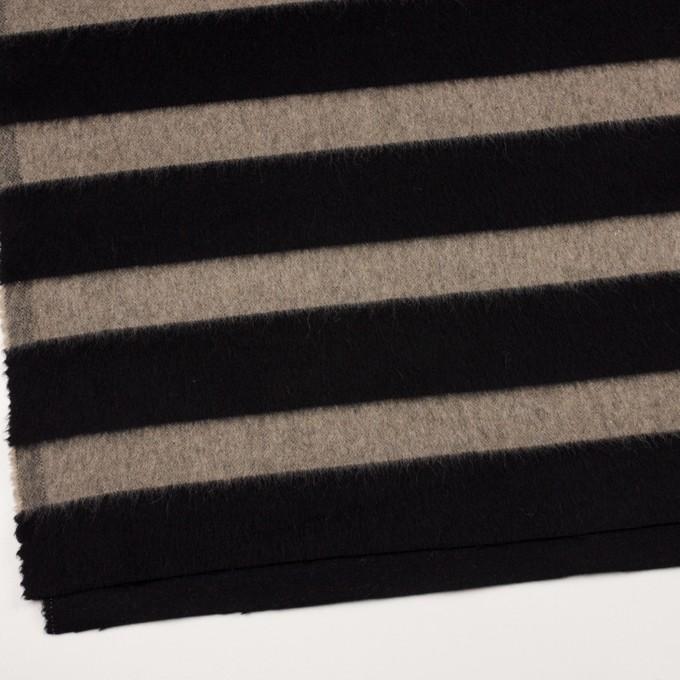ウール×ボーダー(カーキベージュ&ブラック)×シャギー イメージ2