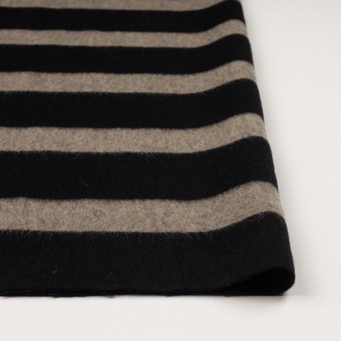 ウール×ボーダー(カーキベージュ&ブラック)×シャギー イメージ3