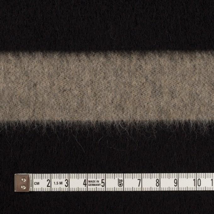 ウール×ボーダー(カーキベージュ&ブラック)×シャギー イメージ4