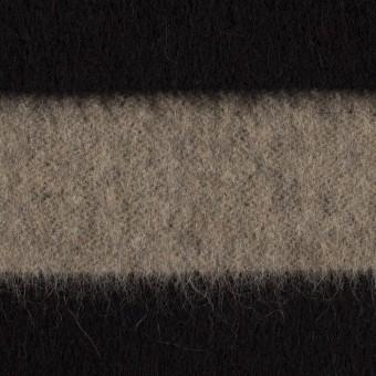ウール×ボーダー(カーキベージュ&ブラック)×シャギー サムネイル1