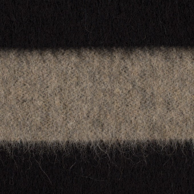 ウール×ボーダー(カーキベージュ&ブラック)×シャギー イメージ1