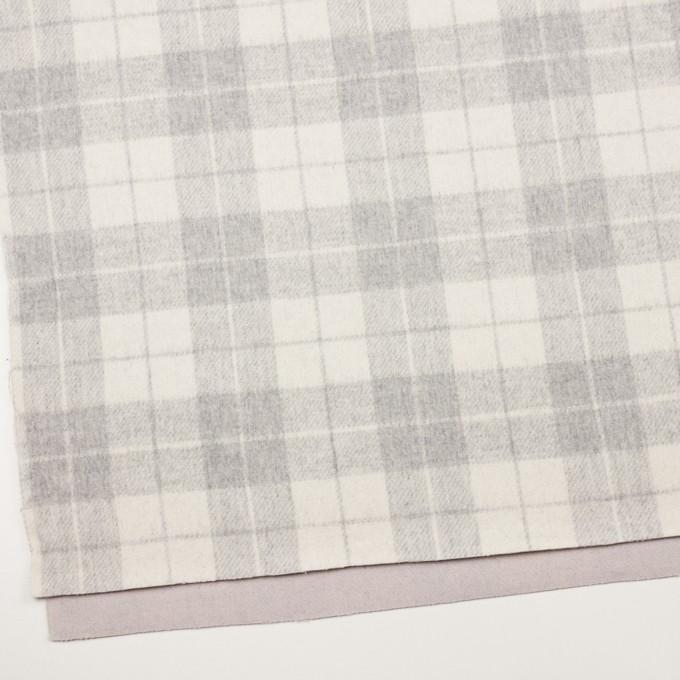 ウール&アクリル混×チェック&無地(グレー、エクリュ&モーブ)×Wフェイス・カルゼ イメージ2